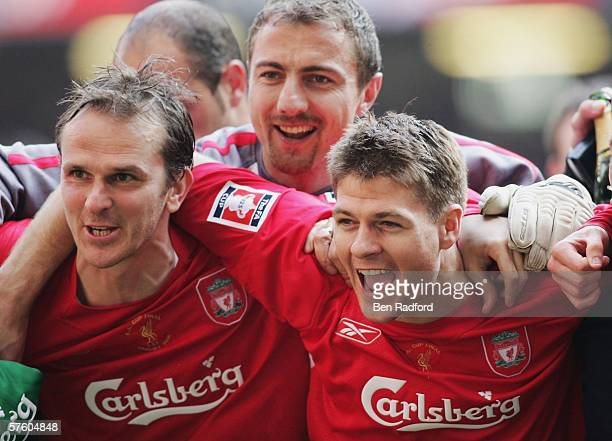 Steven Gerrard the Liverpool captain celebrates with Dietmar Hamann after the FA Cup Final match between Liverpool and West Ham United at the...