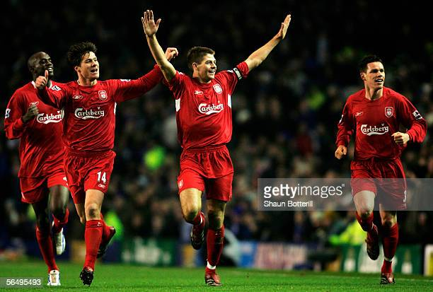 Steven Gerrard the Liverpool captain celebrates with Xabi Alonso after scoring during the Barclays Premiership match between Everton and Liverpool at...