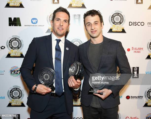 Steven Gizicki and Justin Hurwitz attend The 7th Annual Guild Of Music Supervisors Awards at The Theater at Ace Hotel on February 16 2017 in...