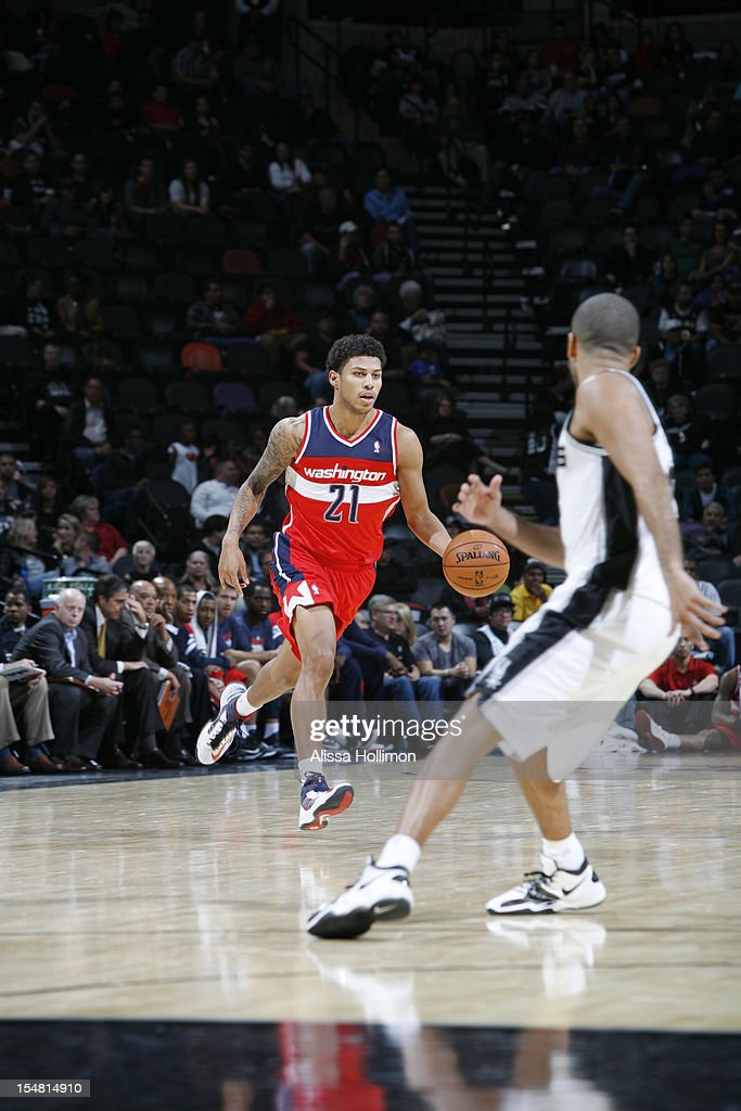 Steven Gray #21 of the Washington Wizards dribbles up the court vs San Antonio Spurs on October 26, 2012 at the AT&T Center in San Antonio, Texas.