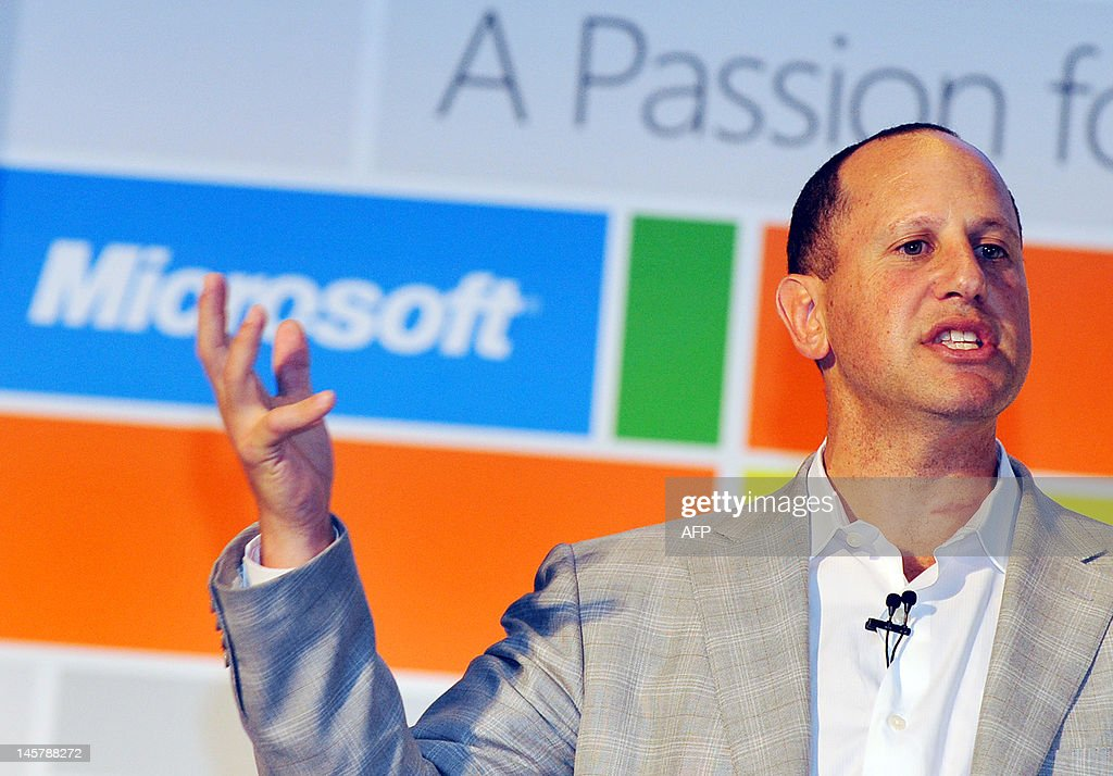 Steven Guggenheimer, Microsoft Corporate Vice President of the Original Equipment Manufacturer Division speaks on his anniversary keynote as part of Microsoft's 10th annual presence at 2012 Computex in Taipei on June 6, 2012. Computex is Asia's leading IT trade fair. AFP PHOTO / Mandy CHENG