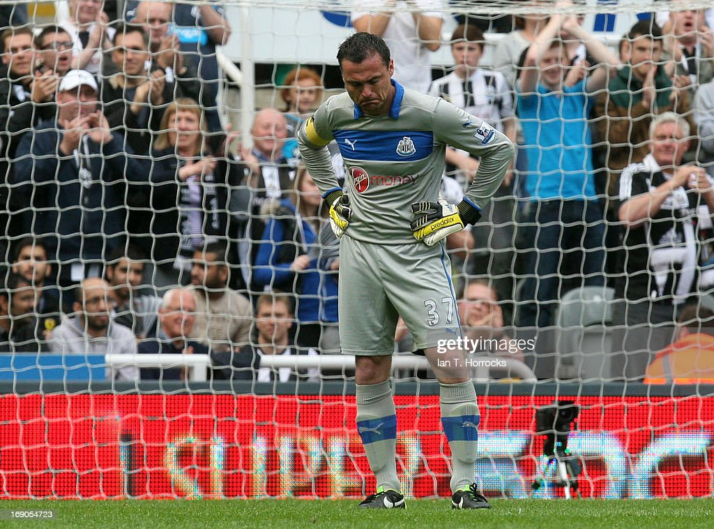 Steven Harper of Newcastle United is brought to tears during his last game during the Barclays Premier League match between Newcastle United and Arsenal at St James' Park on May 19, 2013 in Newcastle upon Tyne, England.