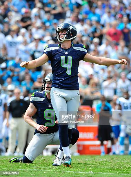 Steven Hauschka and Jon Ryan of the Seattle Seahawks watch Hauschka's field goal attempt against the Carolina Panthers during play at Bank of America...