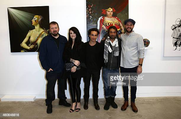 Steven Hawthorne artists Cally Jo Antonio Del Prete Jordi Molla and Ben Levy attend the Cartel Art group show at My Art Invest Gallery London on...