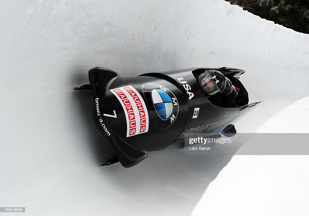 Steven Holcomb, Justin Olsen, Steven Langton and Curtis Tomasevicz of USA compete during the Four Men Bobsleigh heat one of the IBSF Bob & Skeleton World Championship at Olympia Bob Run on February 2, 2013 in St Moritz, Switzerland.