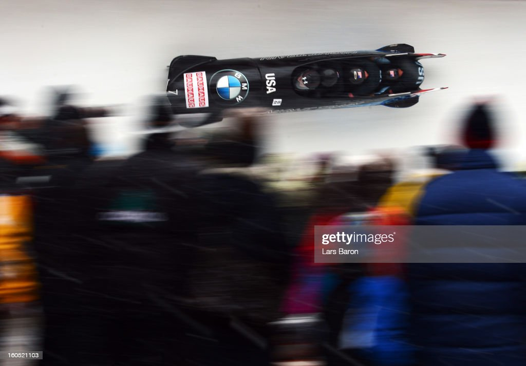 Steven Holcomb, Justin Olsen, Steven Langton and Curtis Tomasevicz of USA compete during the Four Men Bobsleigh heat two of the IBSF Bob & Skeleton World Championship at Olympia Bob Run on February 2, 2013 in St Moritz, Switzerland.