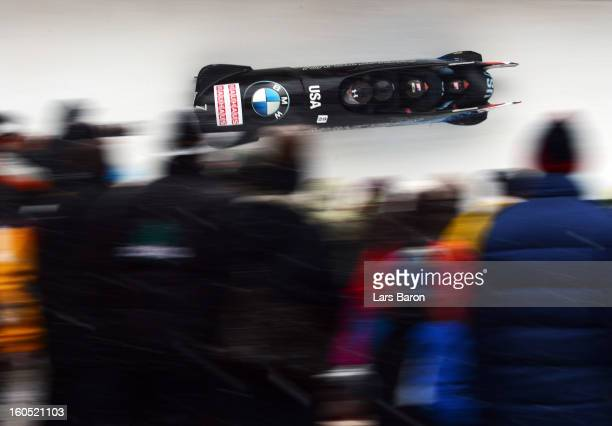 Steven Holcomb Justin Olsen Steven Langton and Curtis Tomasevicz of USA compete during the Four Men Bobsleigh heat two of the IBSF Bob Skeleton World...