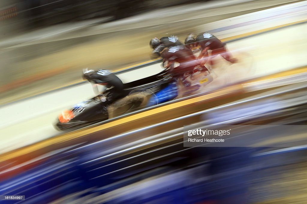 <a gi-track='captionPersonalityLinkClicked' href=/galleries/search?phrase=Steven+Holcomb&family=editorial&specificpeople=813805 ng-click='$event.stopPropagation()'>Steven Holcomb</a> of the USA launches his sled down the track during the 4 man Bobsleigh Viessman FIBT Bob & Skeleton World Cup at the Sanki Sliding Center in Krasnya Polyana on February 17, 2013 in Sochi, Russia. Sochi is preparing for the 2014 Winter Olympics with test events across the venues.