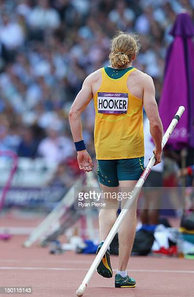 Steven Hooker of Australia after a failed attempt during the Men's Pole Vault Final on Day 14 of the London 2012 Olympic Games at Olympic Stadium on...