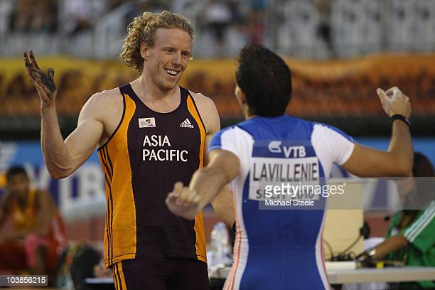 Steven Hooker of Australia and Team AsiaPacific celebrates victory after cleaing 595 metre in the men's pole vault with Renaud Lavillenie of France...