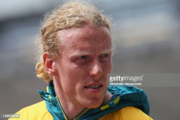 Steven Hooker of Australia looks on during the Men's Pole Vault Qualifications on Day 12 of the London 2012 Olympic Games at Olympic Stadium on...