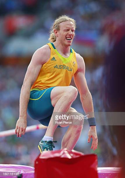 Steven Hooker of Australia reacts during the Men's Pole Vault Final on Day 14 of the London 2012 Olympic Games at Olympic Stadium on August 10 2012...