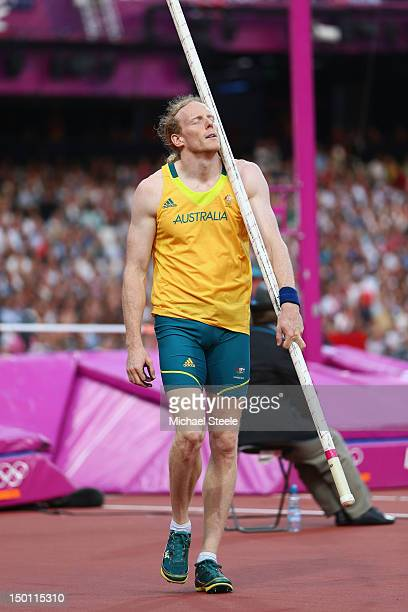 Steven Hooker of Australia reacts to a failed at an attempt during the Men's Pole Vault Final on Day 14 of the London 2012 Olympic Games at Olympic...