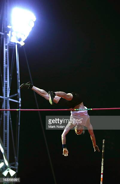 Steven Hooker of the WAIS competes in the Mens Pole Vault during the Sydney Track Classic at Sydney Olympic Park Sports Centre on March 9 2013 in...