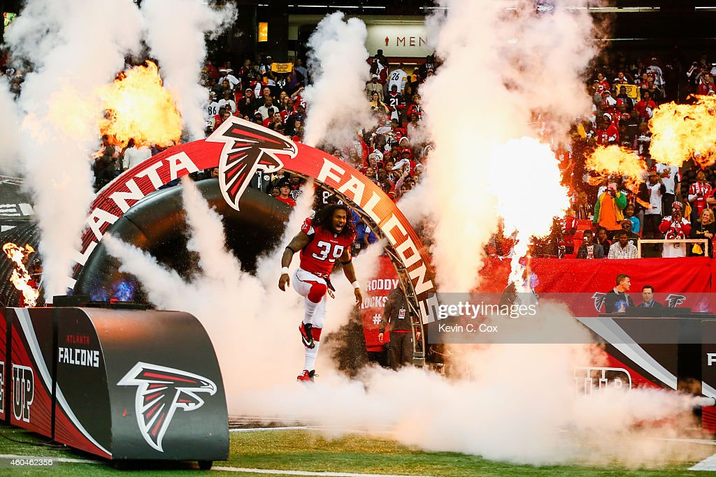 Steven Jackson of the Atlanta Falcons is introduced prior to the game against the Pittsburgh Steelers at the Georgia Dome on December 14 2014 in...