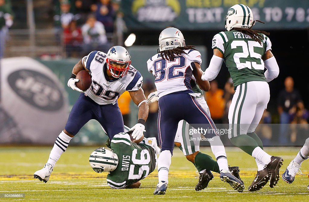 Steven Jackson of the New England Patriots in action against the New York Jets on December 27 2015 at MetLife Stadium in East Rutherford New Jersey...