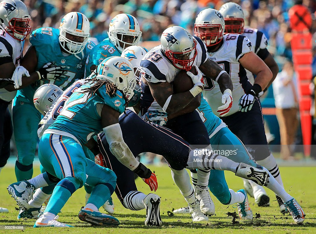 Steven Jackson of the New England Patriots in action during the first half of the game against the Miami Dolphins at Sun Life Stadium on January 3...