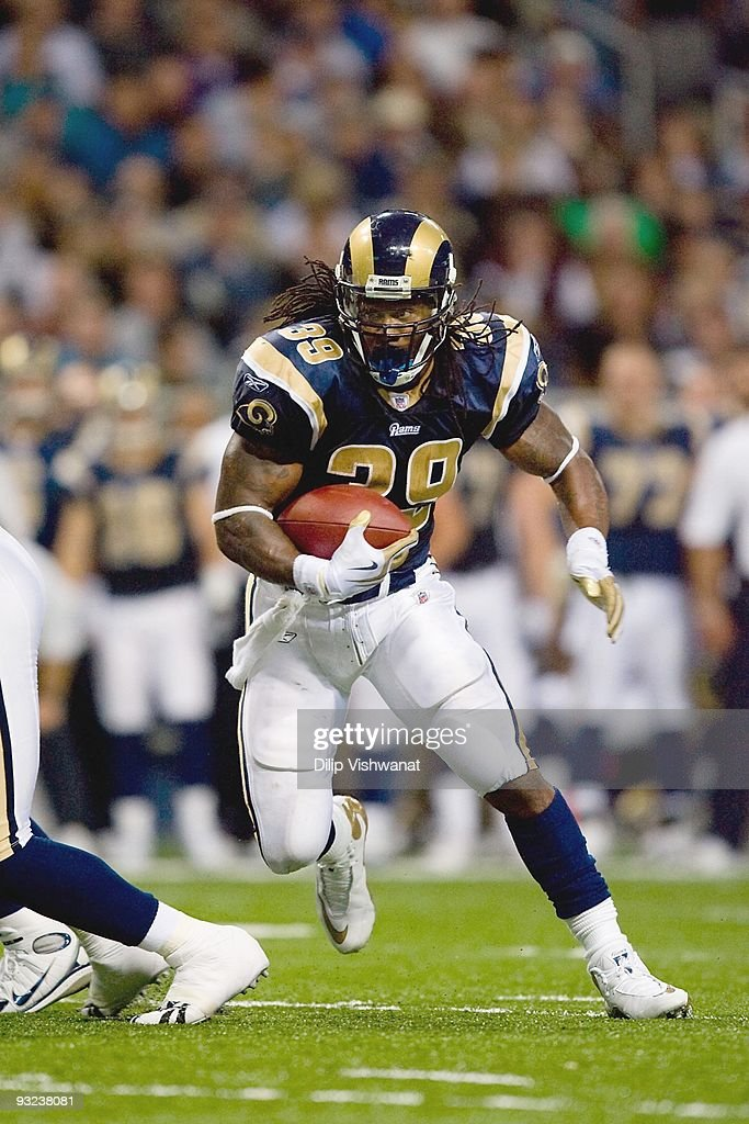 Steven Jackson of the St Louis Rams carries the ball during the game against the New Orleans Saints at the Edward Jones Dome on November 15 2009 in...