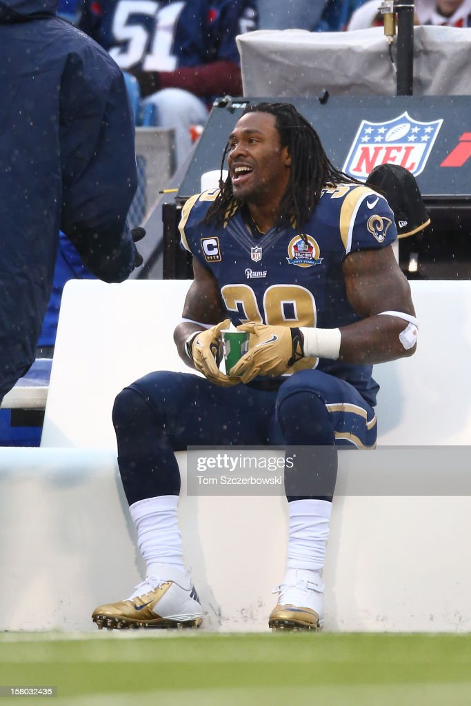 Steven Jackson of the St Louis Rams on the sidelines after his touchdown run during an NFL game against the Buffalo Bills at Ralph Wilson Stadium on...