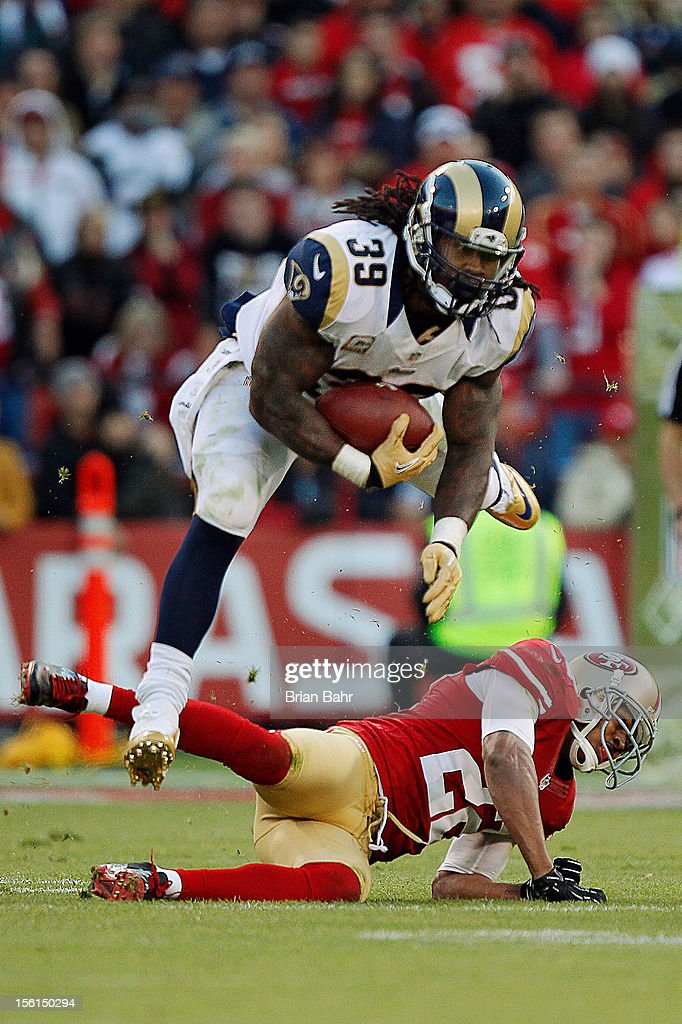 <a gi-track='captionPersonalityLinkClicked' href=/galleries/search?phrase=Steven+Jackson+-+American+Football+Player&family=editorial&specificpeople=15387688 ng-click='$event.stopPropagation()'>Steven Jackson</a> #39 of the St. Louis Rams vaults cornerback Carlos Rogers #22 of the San Francisco 49ers in overtime on November 11, 2012 at Candlestick Park in San Francisco, California. The teams tied 24-24 in overtime.