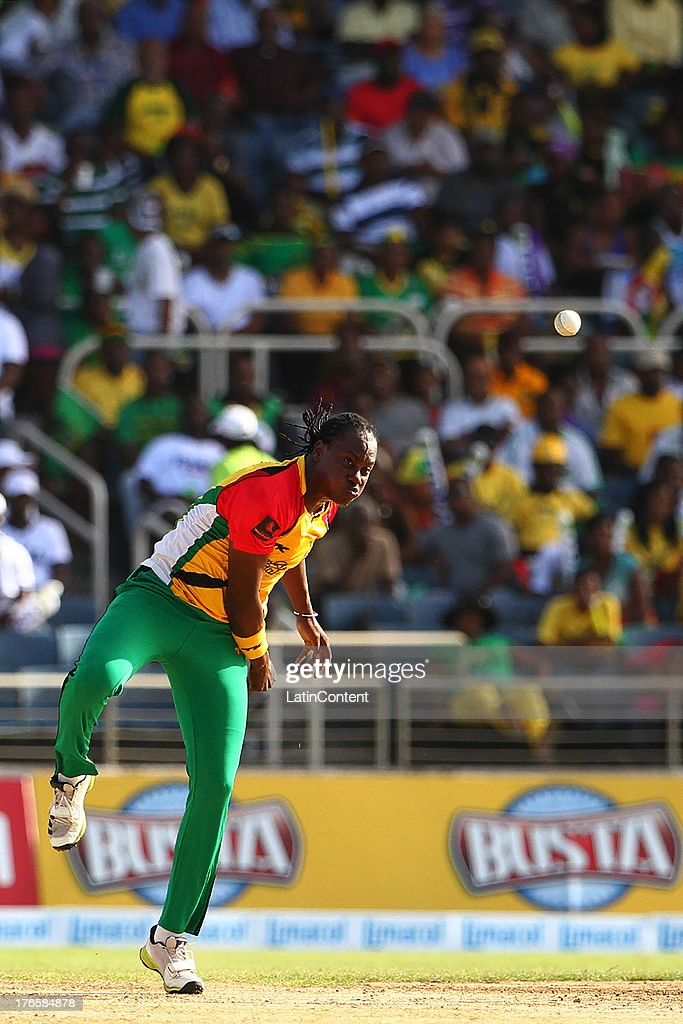 Steven Jacobs of Guyana Amazon Warriors bowls infront of a full crowd during the Sixteenth Match of the Cricket Caribbean Premier League between Jamaica Tallawahs v Guyana Amazon Warriors at Sabina Park on August 15, 2013 in Kingston, Jamaica.