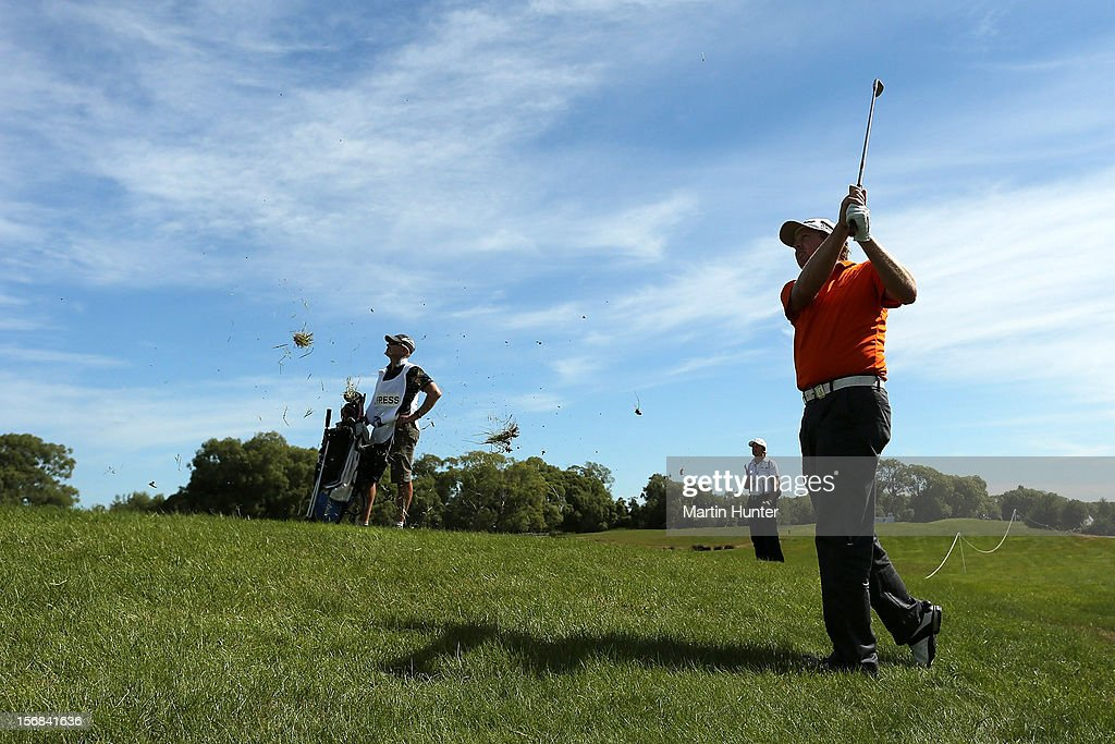Steven Jeffress of Australia plays a shot during day two of the New Zealand Open Championship at Clearwater Golf Course on November 23, 2012 in Christchurch, New Zealand.