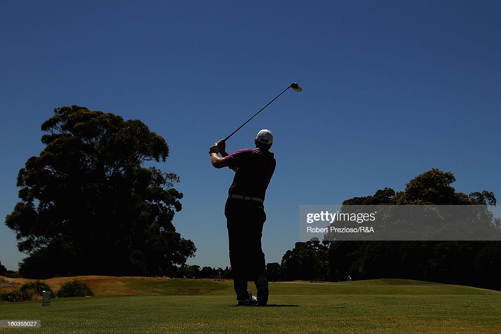 Steven Jeffress of Australia plays a shot on the 18th hole during day two of the British Open International Final Qualifying Australasia at Kingston Heath Golf Club on January 30, 2013 in Melbourne, Australia.
