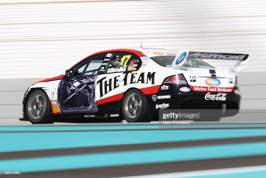 <a gi-track='captionPersonalityLinkClicked' href=/galleries/search?phrase=Steven+Johnson+-+Race+Car+Driver&family=editorial&specificpeople=167244 ng-click='$event.stopPropagation()'>Steven Johnson</a> drives the Dick Johnson Racing Ford Falcon during the V8 Supercars qualifying session at the Yas Marina Circuit on November 2, 2012 in Abu Dhabi, United Arab Emirates.