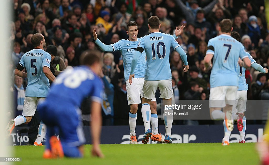 Steven Jovetic of Manchester City celebrates after scoring the first goal past Petr Cech of Chelsea during the FA Cup Fifth Round match sponsored by Budweiser between Manchester City and Chelsea at Etihad Stadium on February 15, 2014 in Manchester, England.