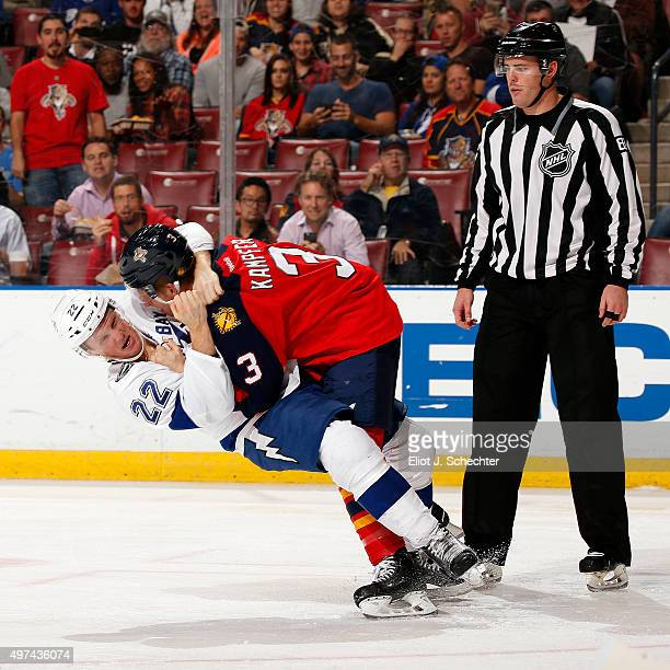 Steven Kampfer of the Florida Panthers fights with Erik Condra during second period action at the BBT Center on November 16 2015 in Sunrise Florida