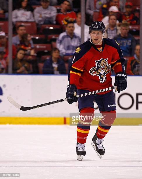 Steven Kampfer of the Florida Panthers looks on during a game against the Los Angeles Kings at BBT Center on February 5 2015 in Sunrise Florida