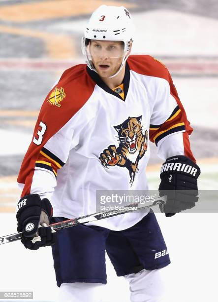 Steven Kampfer of the Florida Panthers plays in the game against the Boston Bruins at TD Garden on March 25 2016 in Boston Massachusetts