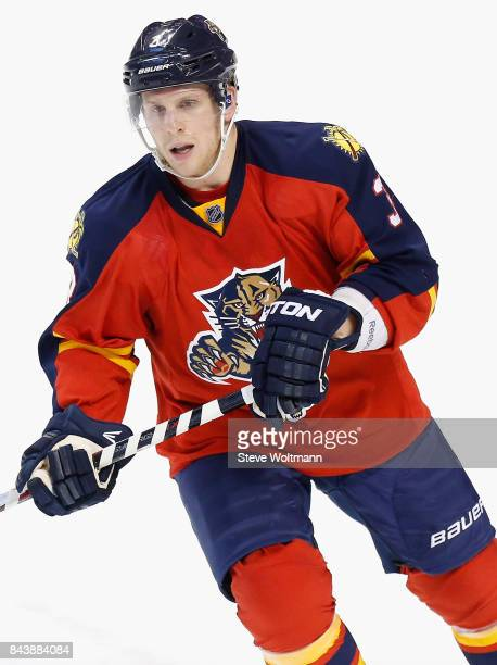 Steven Kampfer of the Florida Panthers plays in the game against the Dallas Stars at BBT Center on March 5 2015 in Sunrise Florida