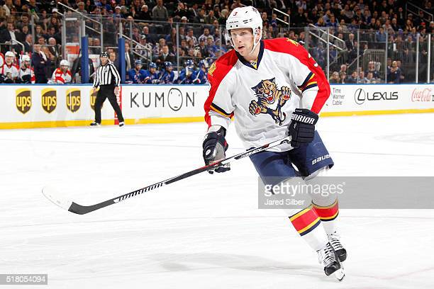 Steven Kampfer of the Florida Panthers skates against the New York Rangers at Madison Square Garden on March 21 2016 in New York City The New York...