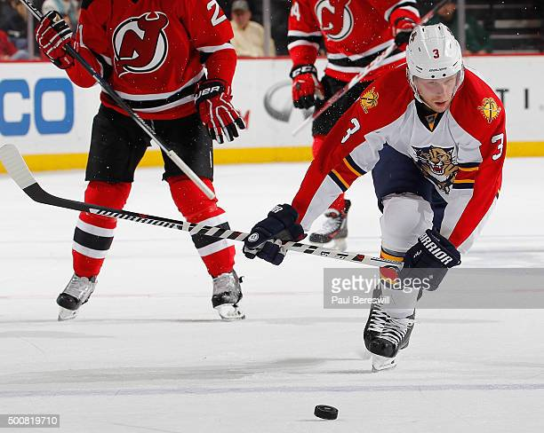 Steven Kampfer of the Florida Panthers skates in an NHL hockey game against the New Jersey Devils at Prudential Center on December 6 2015 in Newark...