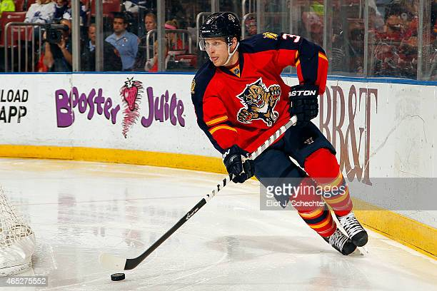 Steven Kampfer of the Florida Panthers skates with the puck against the Toronto Maple Leafs at the BBT Center on March 3 2015 in Sunrise Florida