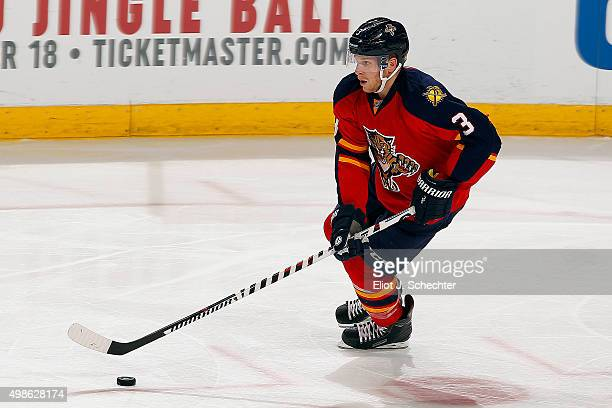 Steven Kampfer of the Florida Panthers skates with the puck against the Anaheim Ducks at the BBT Center on November 19 2015 in Sunrise Florida