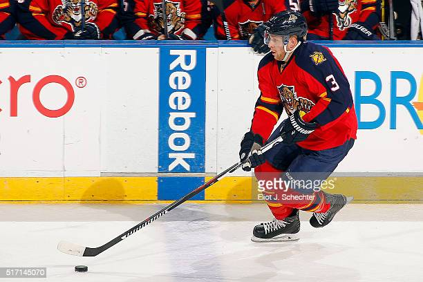 Steven Kampfer of the Florida Panthers skates with the puck against the Detroit Red Wings at the BBT Center on March 19 2016 in Sunrise Florida