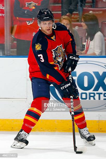 Steven Kampfer of the Florida Panthers skates with the puck on the ice prior to the start of the game against the Winnipeg Jets at the BBT Center on...