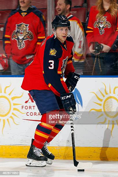 Steven Kampfer of the Florida Panthers skates with the puck prior to the start of the game against the the Los Angeles Kings at the BBT Center on...