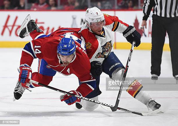 Steven Kampfer of the Florida Panthers tries to slow down Tomas Plekanec of the Montreal Canadiens in the NHL game at the Bell Centre on April 5 2016...