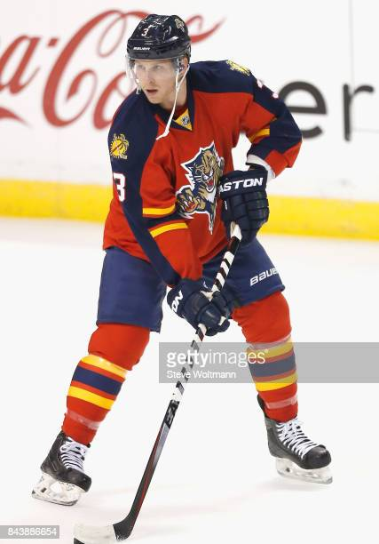 Steven Kampfer of the Florida Panthers warms up before the game against the Dallas Stars at BBT Center on March 5 2015 in Sunrise Florida