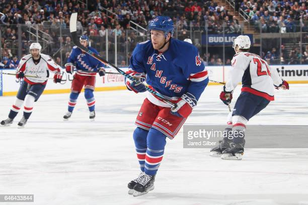 Steven Kampfer of the New York Rangers skates against the Washington Capitals at Madison Square Garden on February 28 2017 in New York City