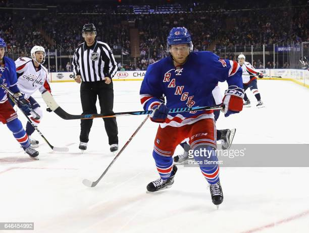Steven Kampfer of the New York Rangers skates against the Washington Capitals at Madison Square Garden on February 28 2017 in New York City The...