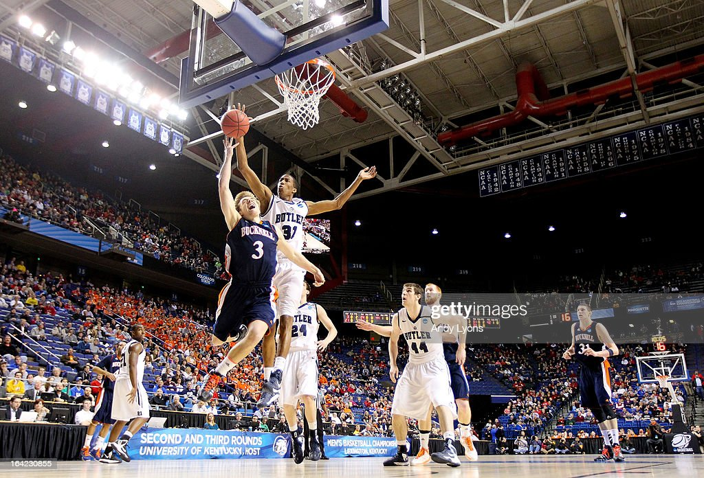 Steven Kaspar #3 of the Bucknell Bison shoots against Kameron Woods #31 of the Butler Bulldogs in the first half during the second round of the 2013 NCAA Men's Basketball Tournament at the Rupp Arena on March 21, 2013 in Lexington, Kentucky.