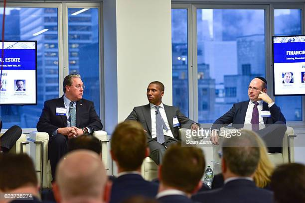 Steven Kenney Chad Tredway and Ralph Herzka attend The Commercial Observer Financing Commercial Real Estate at 666 Fifth Avenue on November 15 2016...