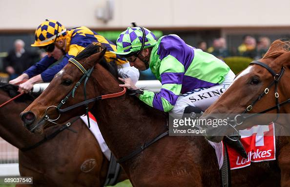 Steven King riding I Am a Star wins Race 6 Quezette Stakes during Melbourne Racing at Caulfield Racecourse on August 13 2016 in Melbourne Australia