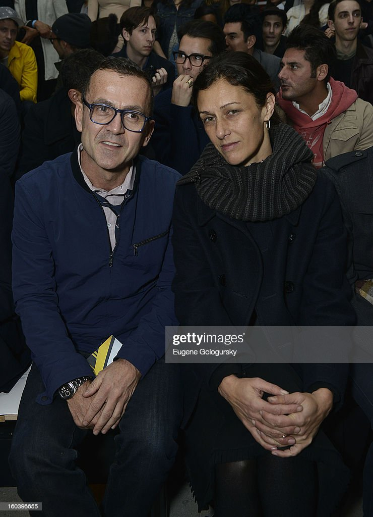 Steven Kolb and Sally Singer attend the Rag & Bone Men's collection fall 2013 fashion show on January 30, 2013 in New York City.