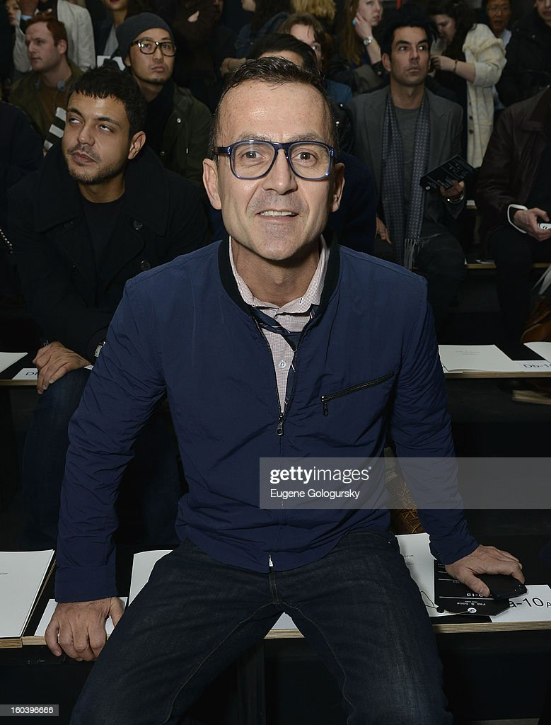 <a gi-track='captionPersonalityLinkClicked' href=/galleries/search?phrase=Steven+Kolb&family=editorial&specificpeople=854812 ng-click='$event.stopPropagation()'>Steven Kolb</a> attends the Rag & Bone Men's collection fall 2013 fashion show on January 30, 2013 in New York City.
