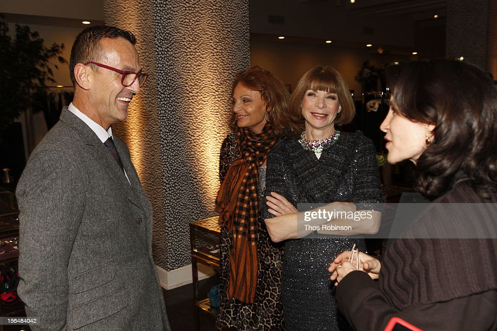 Steven Kolb, CEO of the Council of Fashion Designers of America, designer Diane Von Furstenberg, Vogue editor in chief, Anna Wintour, and Catherine Oliver, New York City film commissioner attend Fashion For Sandy Relief at Metropolitan Pavilion on November 15, 2012 in New York City.
